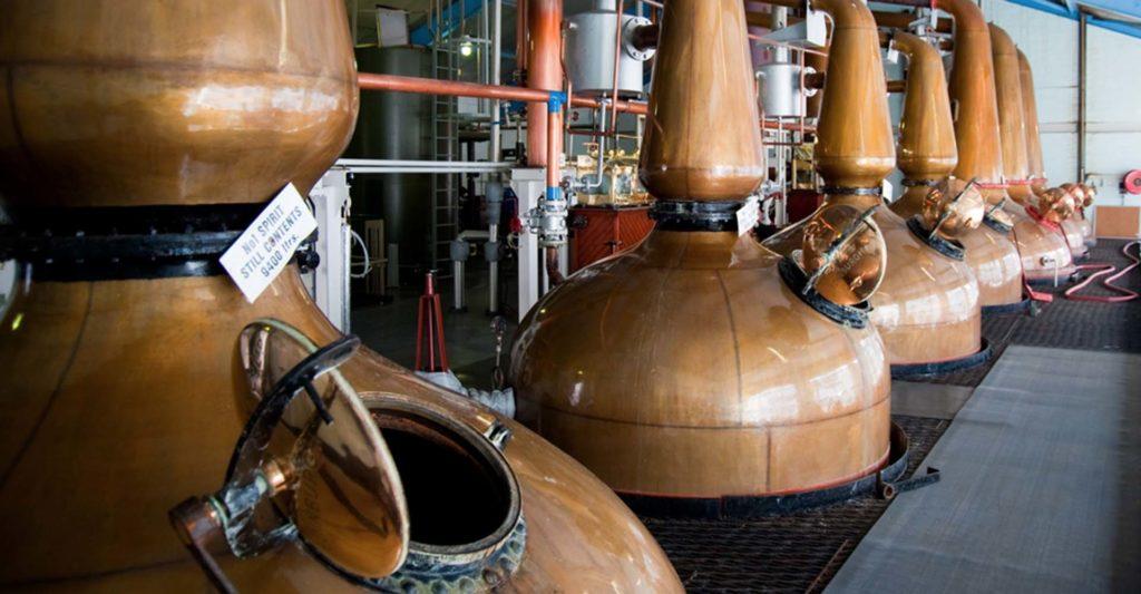 Whisky stills in an Islay distillery