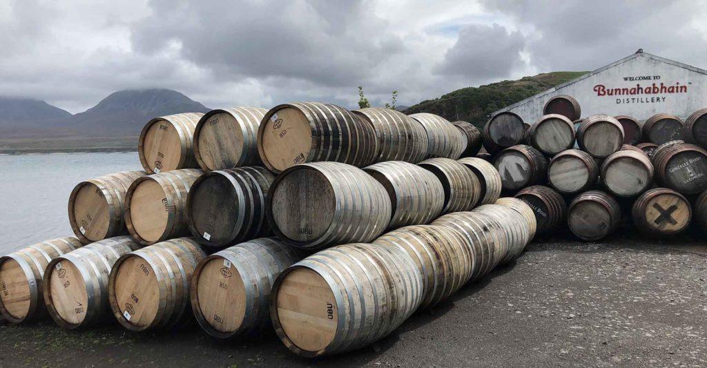 Whisky barrels outside Bunnahabhain Distillery on Islay