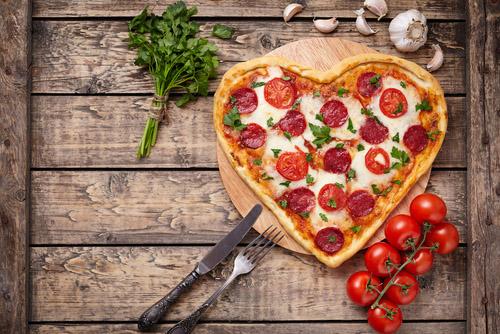 A heart shaped pizza