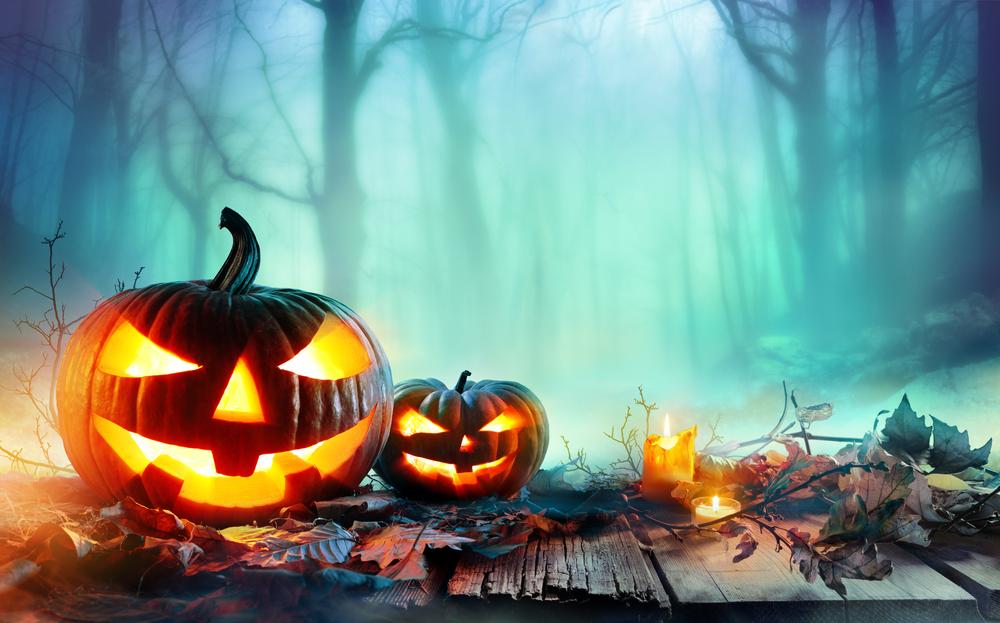 Pumpkins in a spooky wood